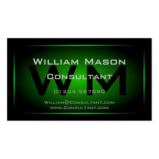 Monograma enmarcado negro y verde - tarjeta de vis tarjetas de visita