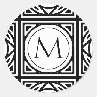 Monograma enmarcado pegatina redonda