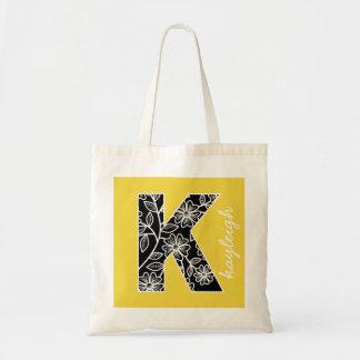 Monograma enorme K - amarillo moderno del estampad Bolsa