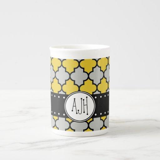 Monograma - enrejado marroquí - negro gris amarill taza de porcelana