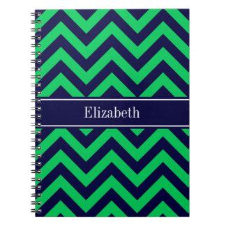 Monograma esmeralda del nombre de los azules libros de apuntes con espiral