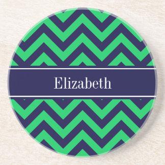 Monograma esmeralda del nombre de los azules posavasos personalizados