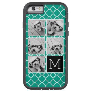 Monograma esmeralda y negro del collage de la foto funda para  iPhone 6 tough xtreme