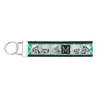 Monograma esmeralda y negro del collage de la foto llavero de pulsera
