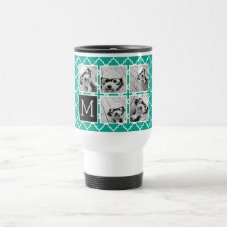 Monograma esmeralda y negro del collage de la foto taza