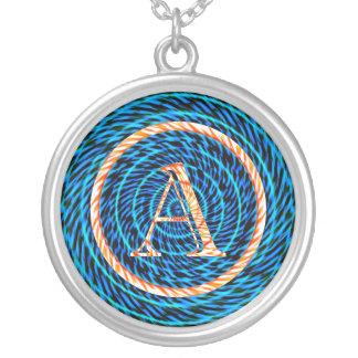Monograma espiral de marea azul A Colgante Redondo