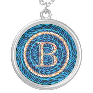 Monograma espiral de marea azul B Colgante Redondo