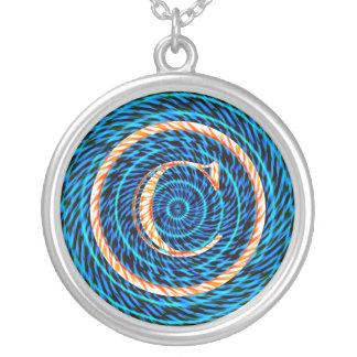 Monograma espiral de marea azul C Colgante Redondo