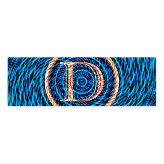 Monograma espiral de marea azul D Tarjetas De Visita Mini