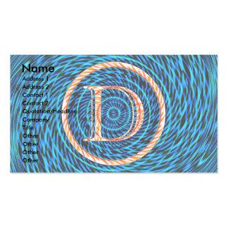 Monograma espiral de marea azul D Tarjetas De Visita