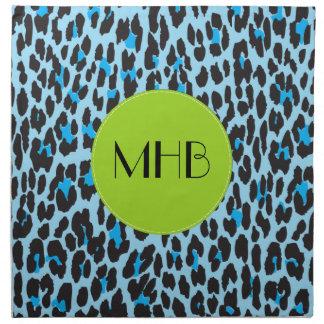 Monograma - estampado de animales, leopardo servilletas imprimidas