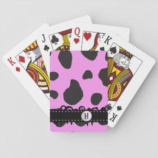 Monograma - estampado de animales, puntos de la baraja de póquer