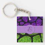Monograma - estampado de girafa, brillo - púrpura