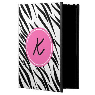 Monograma estampado de zebra blanco y negro y de
