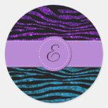 Monograma - estampado de zebra, brillo - púrpura pegatinas redondas