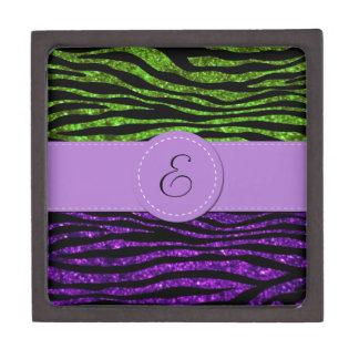 Monograma - estampado de zebra, brillo - verde caja de joyas de calidad