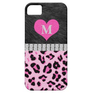 Monograma, estampado leopardo rosado, caso del iPh iPhone 5 Case-Mate Coberturas
