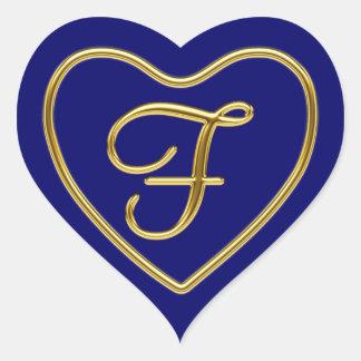 Monograma F en el oro 3D Pegatina En Forma De Corazón