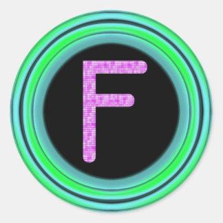 "Monograma ""F "" Pegatina Redonda"