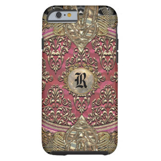 Monograma femenino barroco del damasco 6/6s de funda para iPhone 6 tough