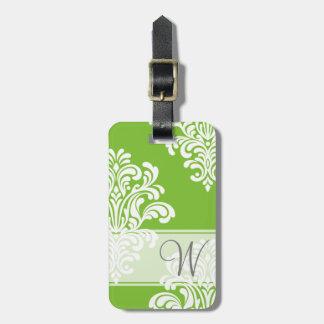 Monograma femenino del damasco etiquetas bolsa