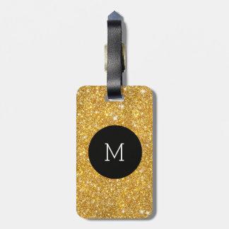 Monograma femenino del falso modelo del brillo del etiquetas para maletas