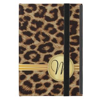 Monograma femenino del oro de la piel del leopardo iPad mini protector