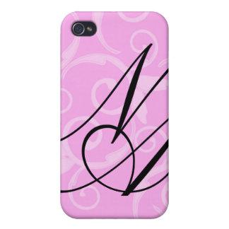 - Monograma femenino del remolino iPhone 4 Fundas