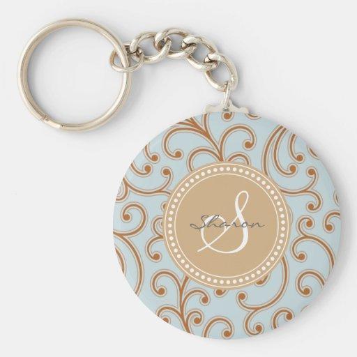Monograma femenino elegante del estampado de flore llavero redondo tipo pin