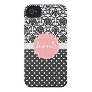 Monograma femenino elegante del rosa negro y blanc iPhone 4 Case-Mate carcasa