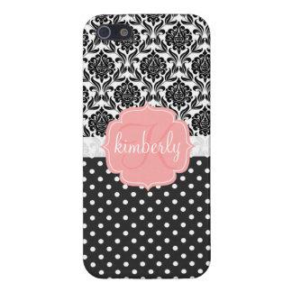 Monograma femenino elegante del rosa negro y blanc iPhone 5 carcasa