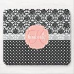 Monograma femenino elegante del rosa negro y blanc tapetes de raton