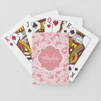 Monograma femenino floral rosa claro moderno con cartas de juego