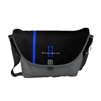 Monograma fino del personalizado de Blue Line Bolsas De Mensajería