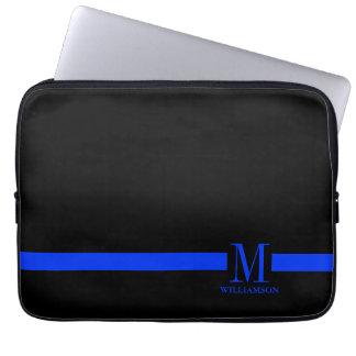 Monograma fino del personalizado de Blue Line Fundas Ordendadores
