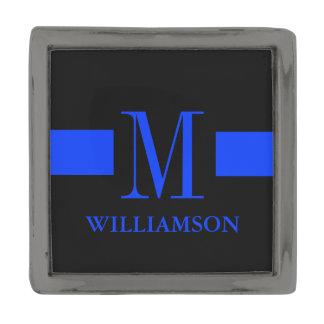 Monograma fino del personalizado de Blue Line Insignia Metalizada