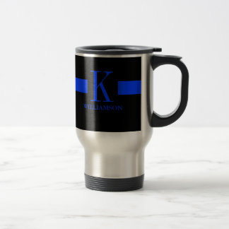 Monograma fino del personalizado de Blue Line Taza De Viaje