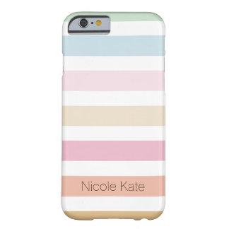 monograma fino moderno del color en colores pastel funda de iPhone 6 barely there