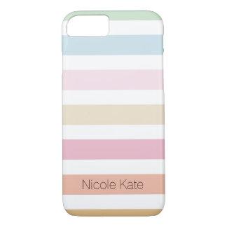 monograma fino moderno del color en colores pastel funda iPhone 7