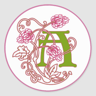 Monograma floral A de Nouveau del arte Pegatina Redonda
