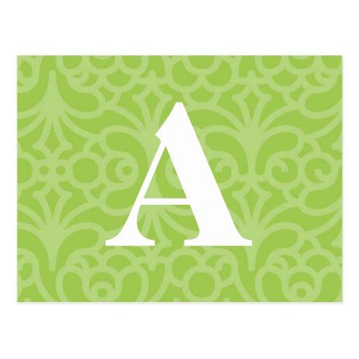 Monograma floral adornado - letra A Tarjetas Postales