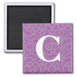 Monograma floral adornado - letra C Imán Cuadrado