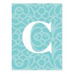Monograma floral adornado - letra C Postal