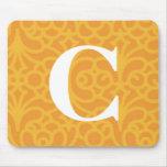 Monograma floral adornado - letra C Alfombrilla De Raton