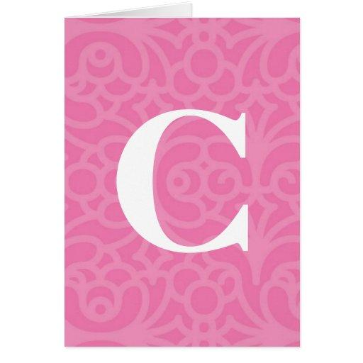 Monograma floral adornado - letra C Tarjeta De Felicitación