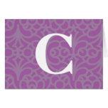 Monograma floral adornado - letra C Tarjeton