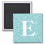 Monograma floral adornado - letra E Imán