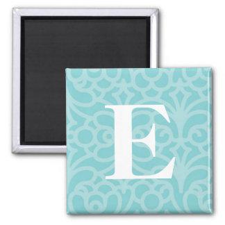 Monograma floral adornado - letra E Imán Cuadrado