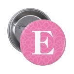 Monograma floral adornado - letra E Pins