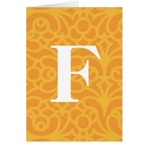 Monograma floral adornado - letra F Felicitación